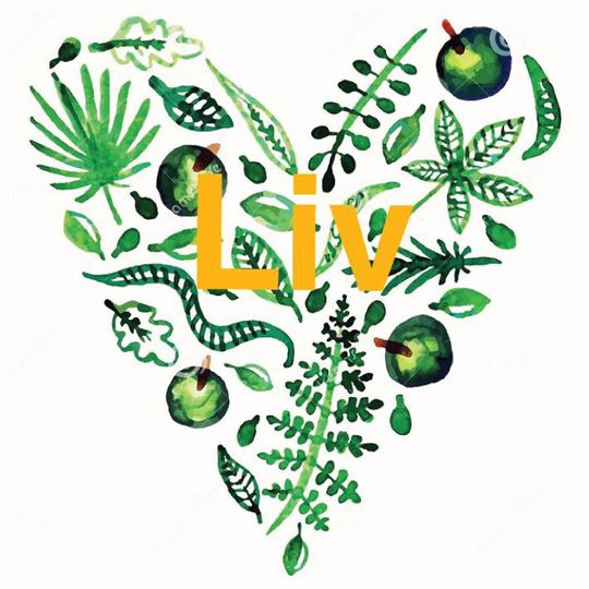 Green heart in watercolour with the word LIV in yellow.