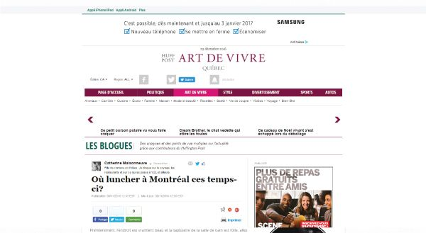 Capture d'écran de l'article de l'Art de Vivre.